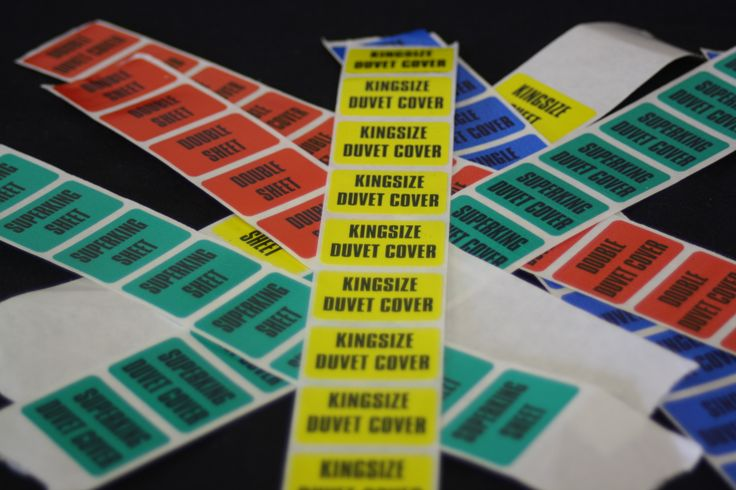 Range of sticky labels used in the stock room, Easy way to remember the hotel colour coding of duvets and sheets.