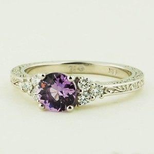 18K White Gold Sapphire Adorned Trio Diamond Ring - Set with a 6mm Round Light Purple Sri Lankan Sapphire #BrilliantEarth