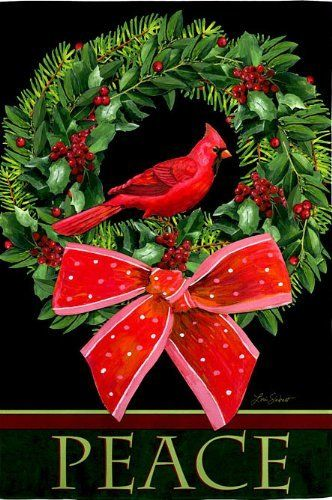 """Evergreen Peaceful Christmas Regular Flag 29"""" X 43"""" by Evergreen. $11.99. All weather polyester. Heat sublimated design. Will fit most standard decorative flag poles and hangers. 29"""" X 43"""". The Peaceful Christmas Flag features a beautiful wreath with holly and berries and evergreen sprigs tied with a red bow. A red cardinal is sitting in the middle of the wreath on this pretty winter house flag. The word """"Peace"""" appears at the bottom of the flag."""