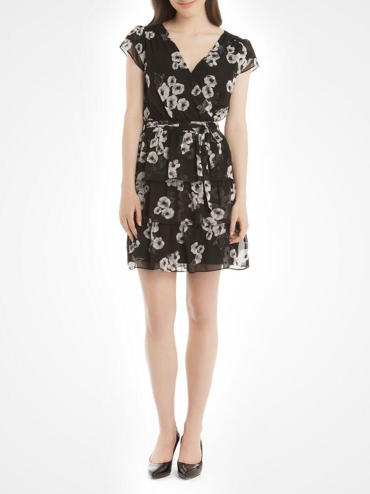 Floral-print chiffon dress with ruffles - Black Work dresses