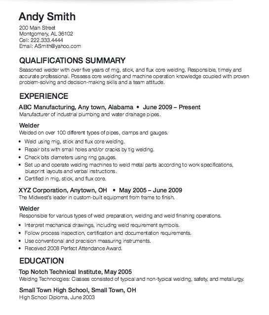 ... Welder Sample Resume . Tank ...