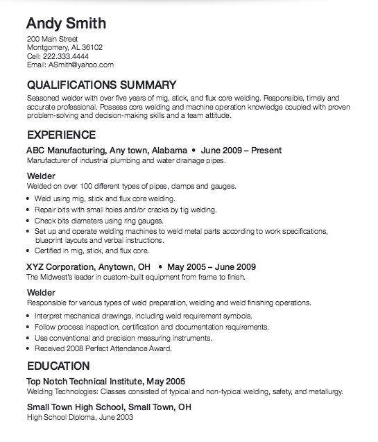 ... 14 Best Resume Images On Pinterest Welding, Sample Resume And   Resume  For Welders ...  Resume For Welder