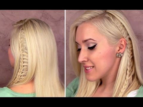 Ladder braid: easy everyday hairstyle for medium long hair tutorial for school Cute side lace braid