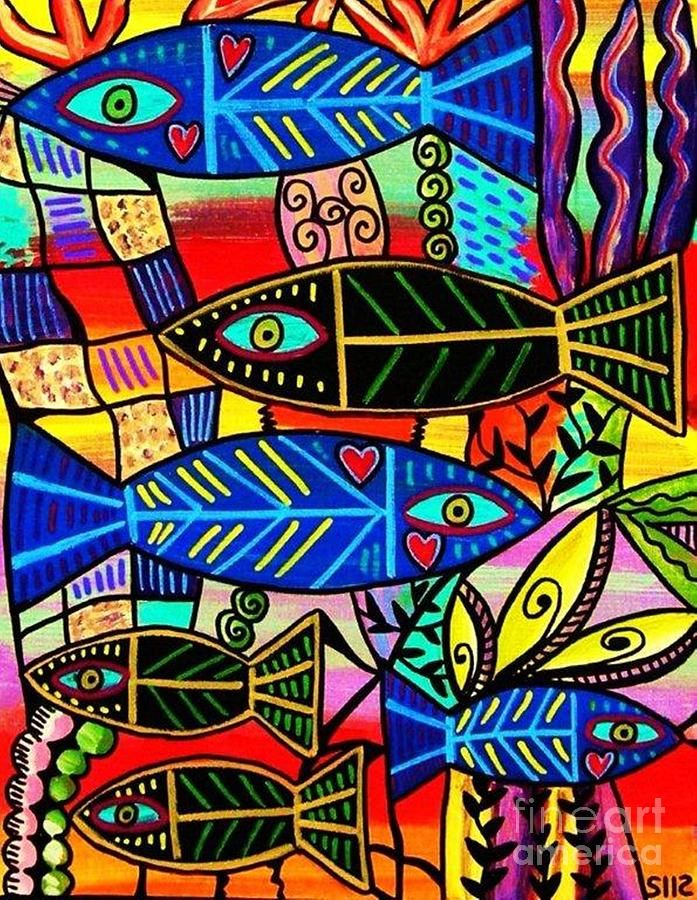 Women Painting - Ruby Coral Fish by Sandra Silberzweig