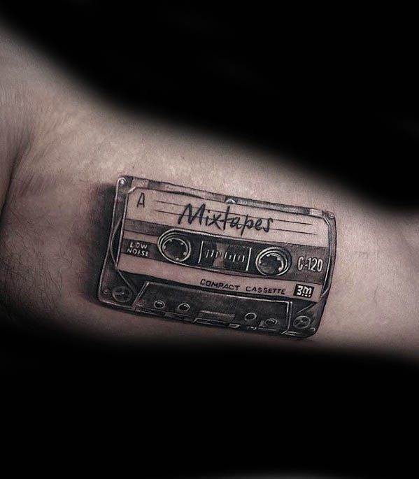 50 Cassette Tape Tattoo Designs For Men