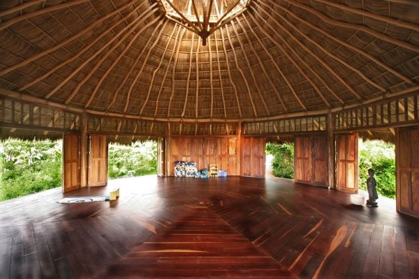 Inside View - Haramara Yoga Resort, Nayarit Mexico.     It's great to see that the technique and design for kogon/palapa roofs are the same in Latin America as they are in Asia.  HaramaraDahlikaPictures 158