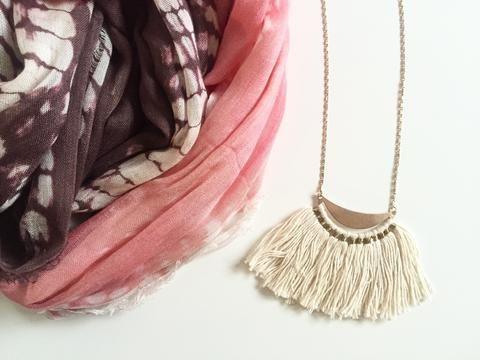Cotton Tassel Moon Necklace