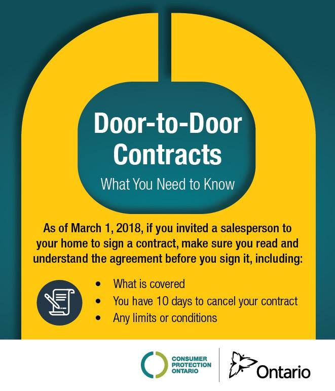 Know your rights! Ontario is taking steps to provide #consumers with more protection against high pressure #DoortoDoor #marketing. Learn more https://www.ontario.ca/page/door-door-sales-and-home-service-contracts