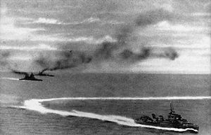 The sinking of Prince of Wales and Repulse was a Second World War naval engagement that took place north of Singapore, off the east coast of Malaya, near Kuantan, Pahang, where the British Royal Navy battleship HMS Prince of Wales and battlecruiser HMS Repulse were sunk by land-based bombers and torpedo bombers of the Imperial Japanese Navy on 10 December 1941. In Japanese, the engagement was referred to as the Naval Battle off Malaya (マレー沖海戦, Mare-oki kaisen?).