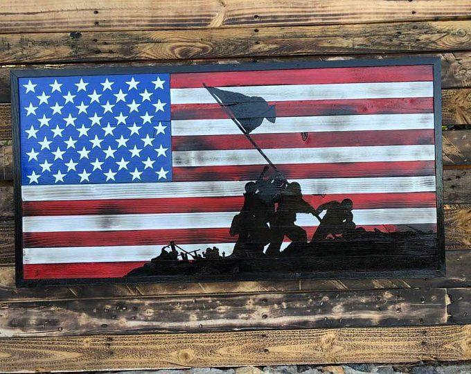 Vintage American Flag W The Raising The Flag On Iwo Jima Wooden American Flag Iwo Jima Flag Iwo Jima