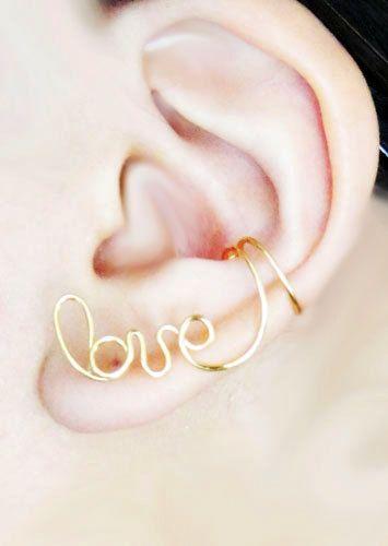 Cartílago auricular brazalete oro amor Earcuff oreja Wrap