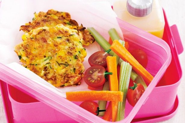 Packed with veggies, these fritters are a great lunch box idea for kids and adults alike.