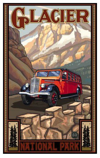 """Northwest Art Mall 11 x 17"""" Poster Glacial National Park Vintage Bus by Paul A. Lanquist"""