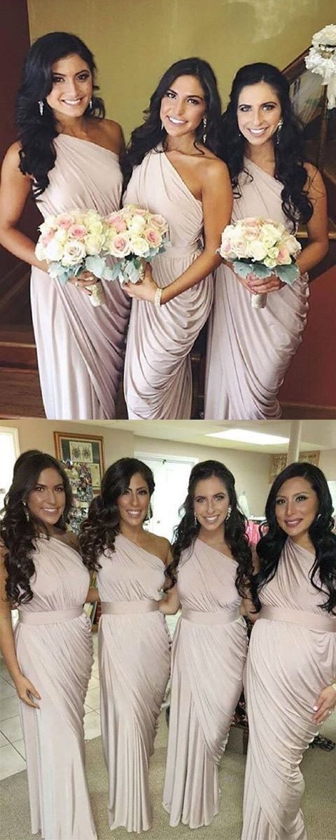 elegant bridesmaid dresses, champagne one-shoulder ruched party dresses, chic long bridesmaid dresses