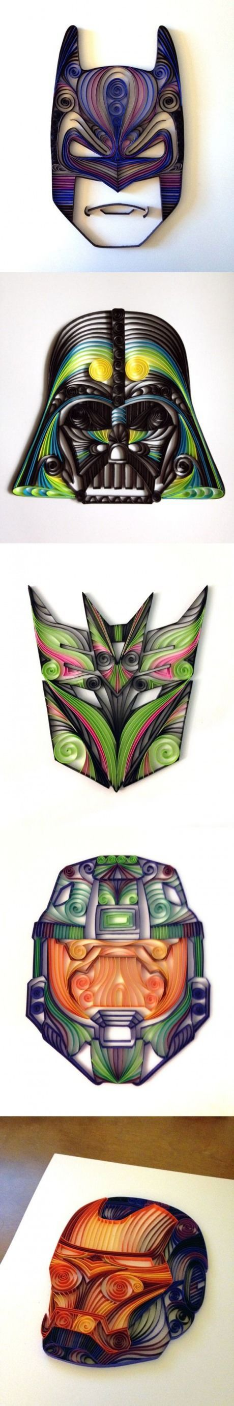Oh. Emm. Gee. These are AWESOME!! Check it out @caitybird1 Geeky Paper Quilling, Batman, Vader, Decepticon, Iron Man: