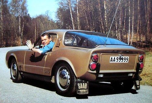 Lasse Lönndahl in a SAAB Sonett II. Saab Sonett II was produced as model year 1966 - 1969.