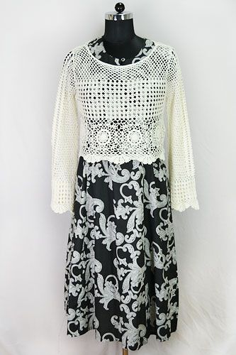 Paisley Maxi Dress with Crochet Jacket designed By Harmeen. Browse through for more latest fashion collection.