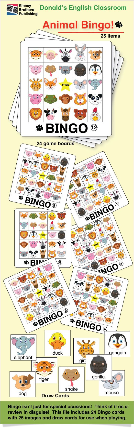 Animal Bingo is a perfect addition to your collection of fun!  With kid-friendly images, this is a game your students will want to play again and again!  Bingo isn't just a game!  It's a review disguised as fun!  $2 on TpT #ESL #EFL #ELL