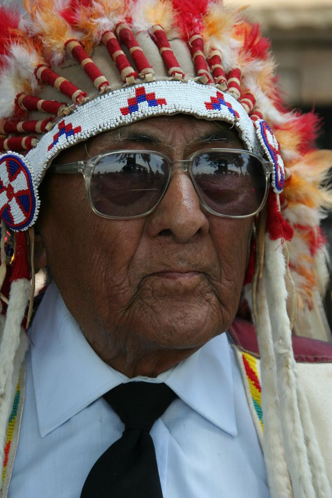 Award ceremony for Dr. Joe Medicine Crow, Garryowen, Montana, June 25, 2008.  Joe Medicine Crow is a Crow tribal leader and the oldest man in the Crow Tribe. Joe's grandfather was Chief Medicine Crow on one side of his family, and White Man Runs Him, Custer's Crow Indian scout at the Little Bighorn on the other side. Joe is also the Crow tribal historian and a World War 2 Veteran... Photo by WY Man