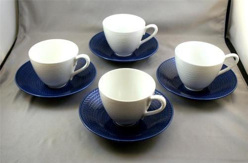 Rorstrand Hertha Bengtson Bla ELD Blue Fire 4 White Cups and 4 Blue Saucers Set | eBay