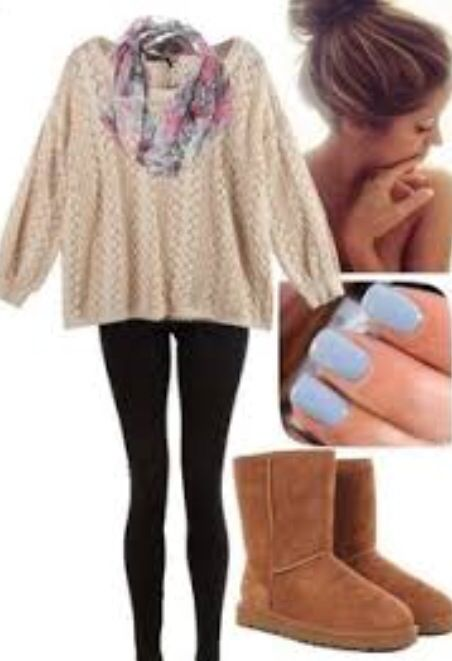 Cream colored shirt with black tights and chestnut uggs (: