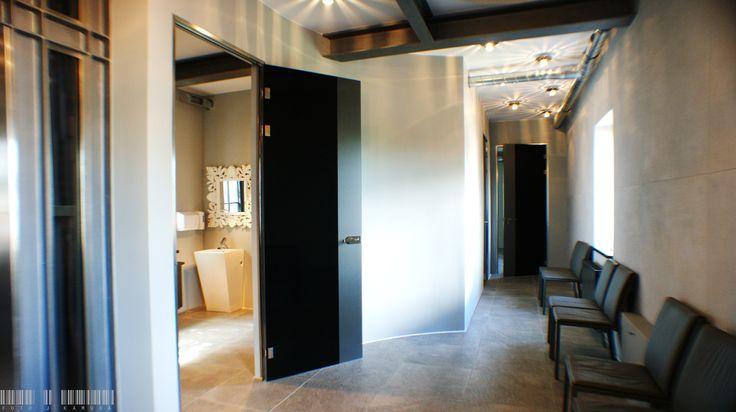 lass door with dark, glass pane | Szklane drzwi z wykorzystaniem ciemnej tafli / Glass fittings: CDA Poland | Okucia do szkła: CDA Polska