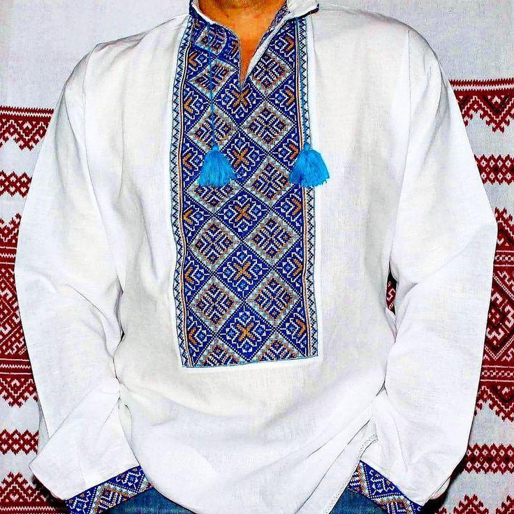 Ukraine VYSHYVANKA Embroidered Mens LINEN White SHIRT XL Wedding Dress Slavic #Handmade #UkrainianFolk