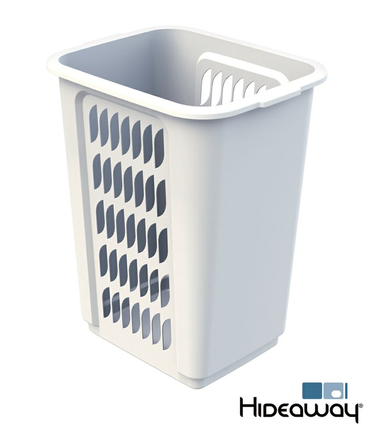 60L Laundry Hamper - Hideaway Laundry Model SCL160D-W. The removable polypropylene plastic hamper features air vents for ventilation. Moulded handles allow it to be easily lifted from the unit to be used as a removable laundry basket. A solid base prevents drips from wet washing, protecting the internal carcass.