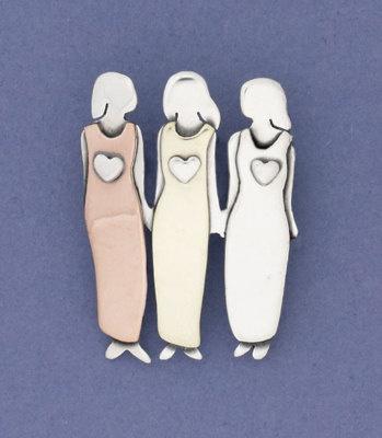 Three sisters pin, free tradeSisters Three, Three Daughters, Women Pin, Girls Trips, Sisters Brooches, Sisters Stuff, Sisters Pin, Jewelry Rings, Three Sisters