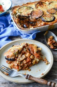 Vegetarian moussaka with aubergine, lentils, mushrooms, chickpeas and tomatos | via larderlove.com