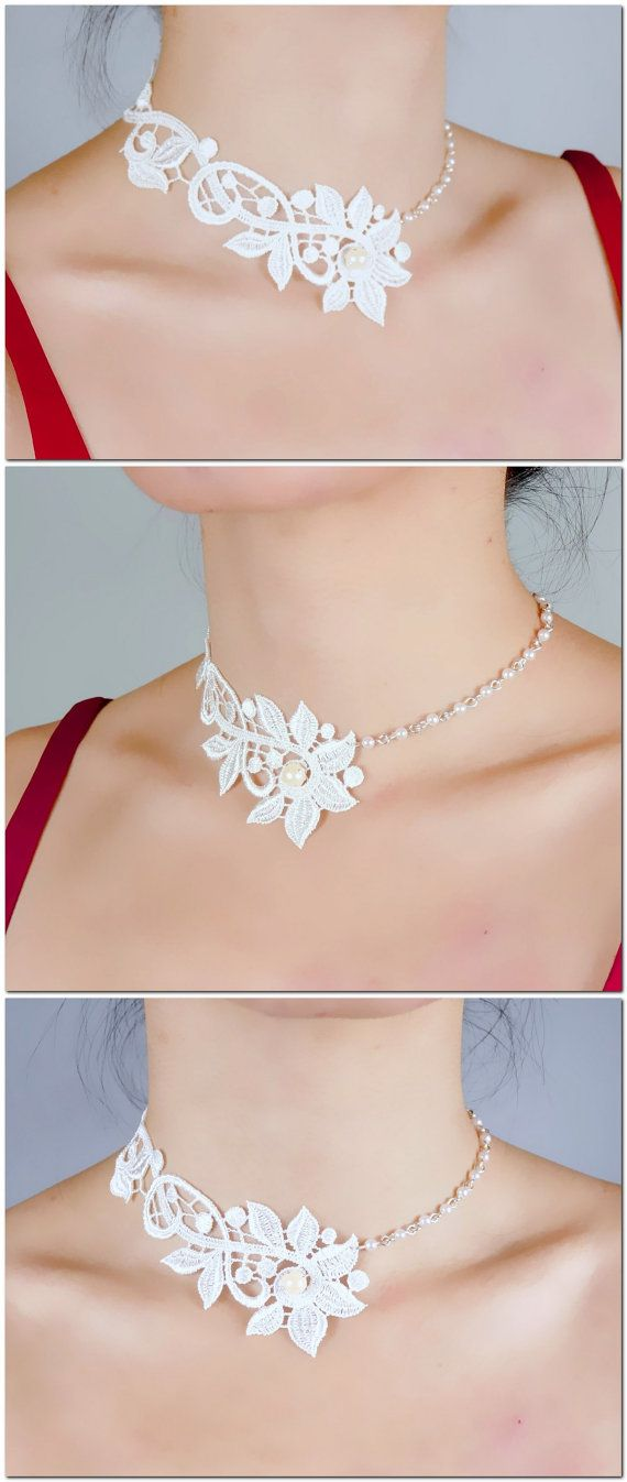 white floral lace choker - silver pearl beaded charm necklace - elegant vintage boho victorian - steampunk jewelry gift for her