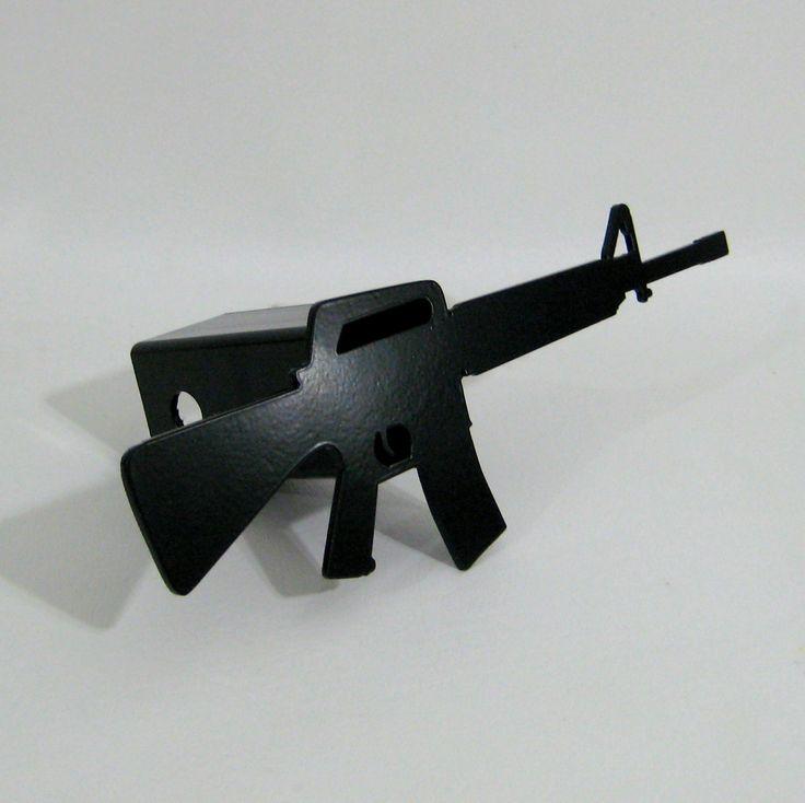 Assault Rifle M16 Hitch Cover Trailer Receiver Painted Handmade Custom Metal Sign Art Plasma Cut. $40.00, via Etsy.