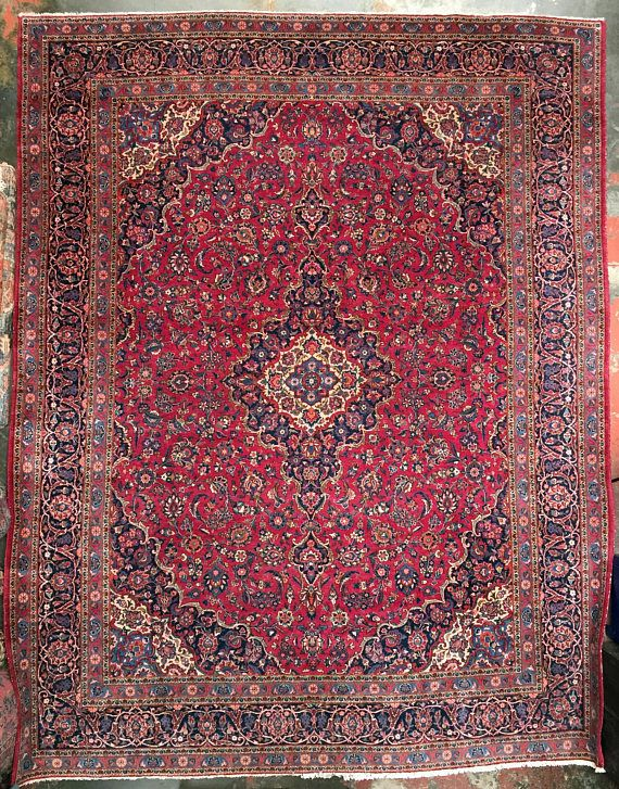11 X 14 Vintage Mashad Persian Rug Gorgeous Berry Navy Blue With
