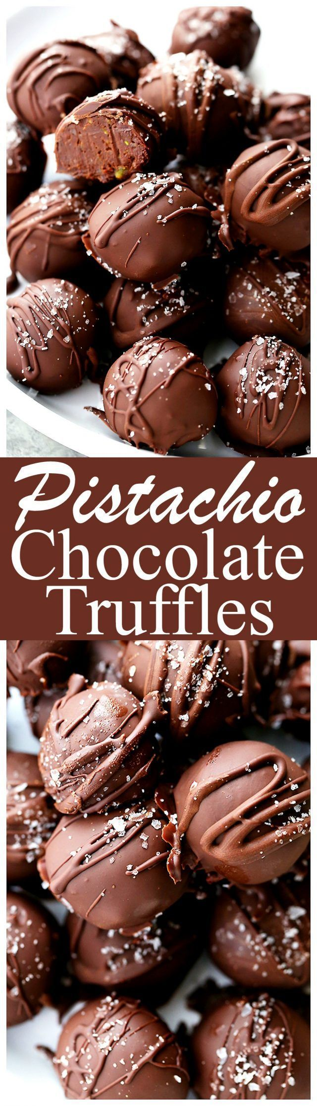 Salted Pistachio Dark Chocolate Truffles - Decadent chocolate truffles made with…