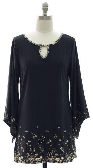 Women's Jewel Yoke 3/4 Bell Sleeve Tunic Top Size S #JonandAnna #KnitTop