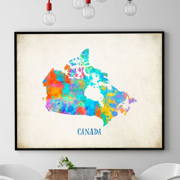 Canada Map Print, Canadian Map Wall Art, Map Of Canada Nursery Decor, Watercolour Map Print, Canadian Home Decor, Kids Room (707) by PointDot on Etsy