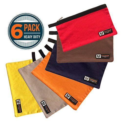 nice 6 Pack Heavy Duty Canvas Tool Bags | 16oz Reinforced Cotton, Easy Glide Nylon Zipper, Multi Purpose Storage Pouches for Garage, Home & Office Organization, Christmas Gifts for Men