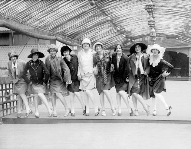 The Charleston Champions invaded New York City in 1926. These lovely ladies comprised the traveling dance team. Charleston dance established itself during the Jazz period.