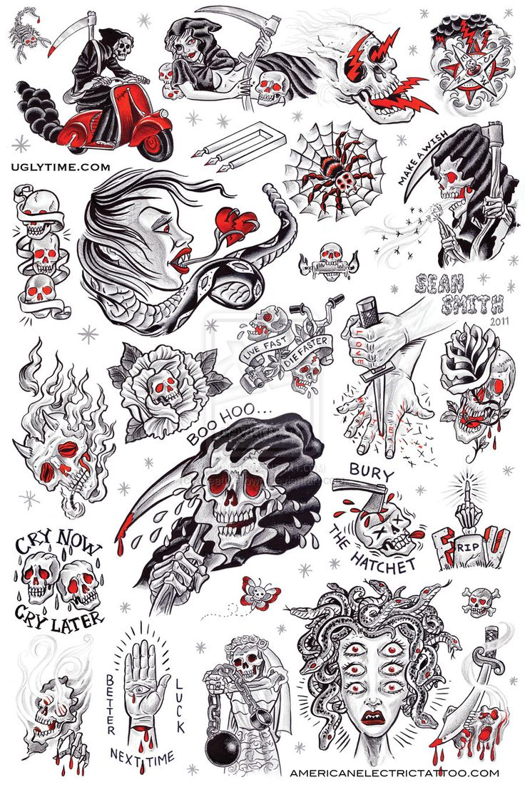 Tattoo Flash Art Black And White Guitar: Tattoo Flash Poster 1 By Creaturetown.deviantart.com On