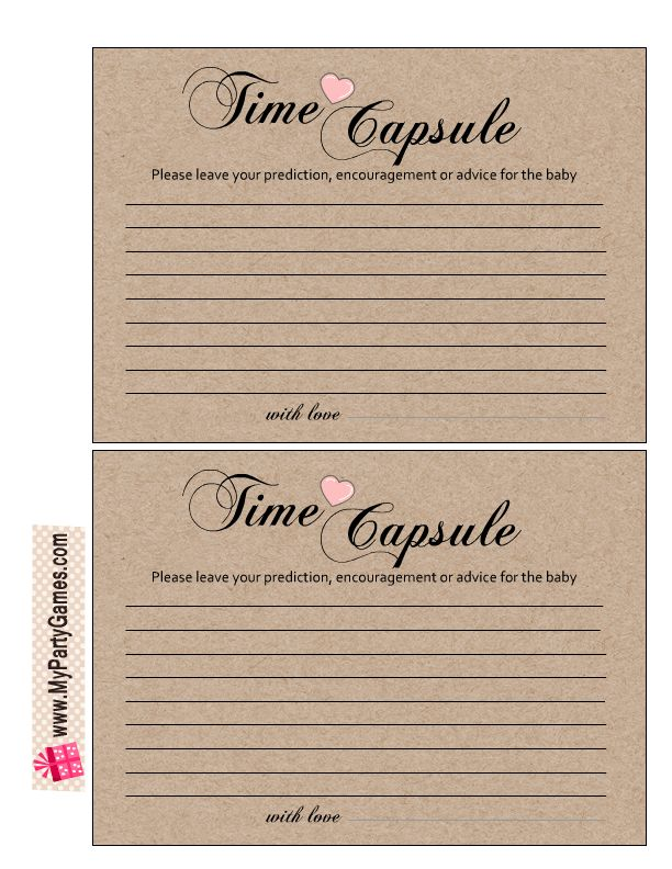 Free Printable Cards for Baby Girl Time Capsule