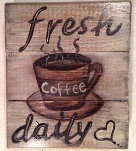 COFFEE Antiqued Primitive Rustic Sign Plaque PICTURE PALLET ART Country KITCHEN
