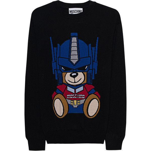 MOSCHINO Transformers Teddy Black // Virgin wool fine knit pullover (€399) ❤ liked on Polyvore featuring tops, sweaters, crew neck pullover sweater, loose fitting sweaters, loose fitting tops, loose pullover sweater and bear sweater