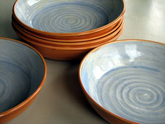 Handmade pottery, ceramic, stoneware clay, set of six pasta bowls orange and blue on Etsy, $228.00