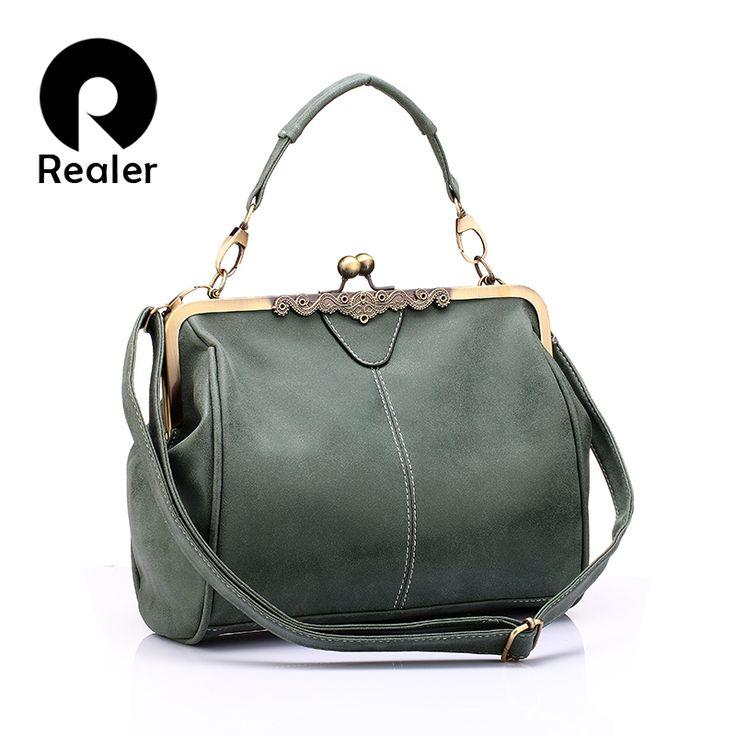 REALER Бренд женская сумка на ремне через плечо, маленькая дамская сумочка с ручкой, женский военный зеленый клатчкупить в магазине RealerнаAliExpress