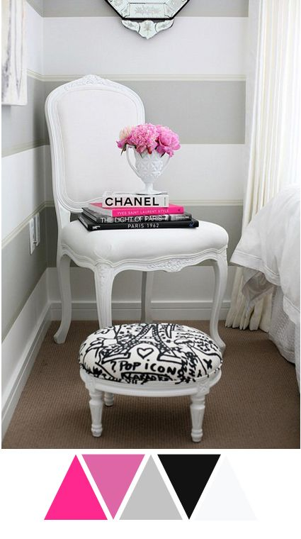Colour Love #12 #color #white #grey #gray #hotpink #pink #neon #black #chanel #chair #stripes #bedroom