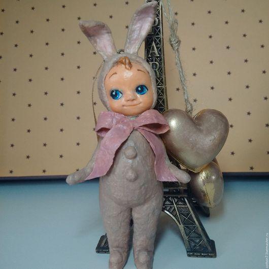 Коллекционные куклы ручной работы. Ярмарка Мастеров - ручная работа. Купить ватная елочная игрушка Зайка. Handmade. Ватная игрушка