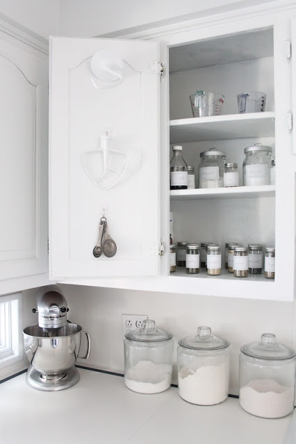 DIY:: Kitchen Organization Tips  Tutorials-  And They Are All in White- I Love This !