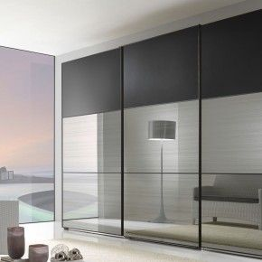 Furniture Storage. Modern Mirror Sliding Wardrobe Closet Door With Three Hidden…
