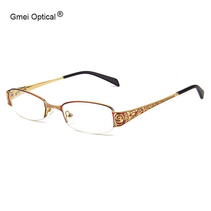 Up-To-Date Metal Alloy Rectangle Half-Rim Women Eyglasses Frames With Design On Temples Women Glasses Frame Optical Eyewear