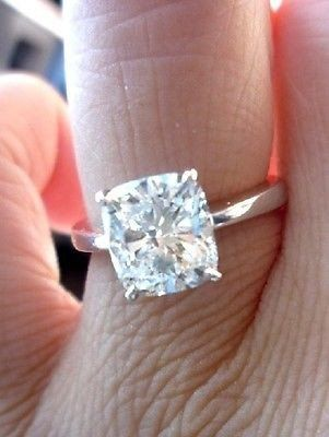 0.90 Ct. Cushion Cut Diamond Solitaire Engagement Ring G/VS2 GIA Certified